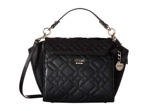GUESS - Ines Top Handle Flap (Black) Handbags