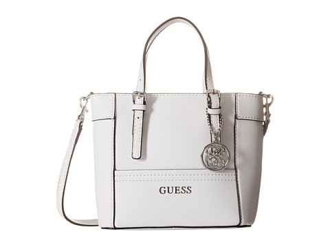 GUESS - Delaney Petite Tote (White) Handbags