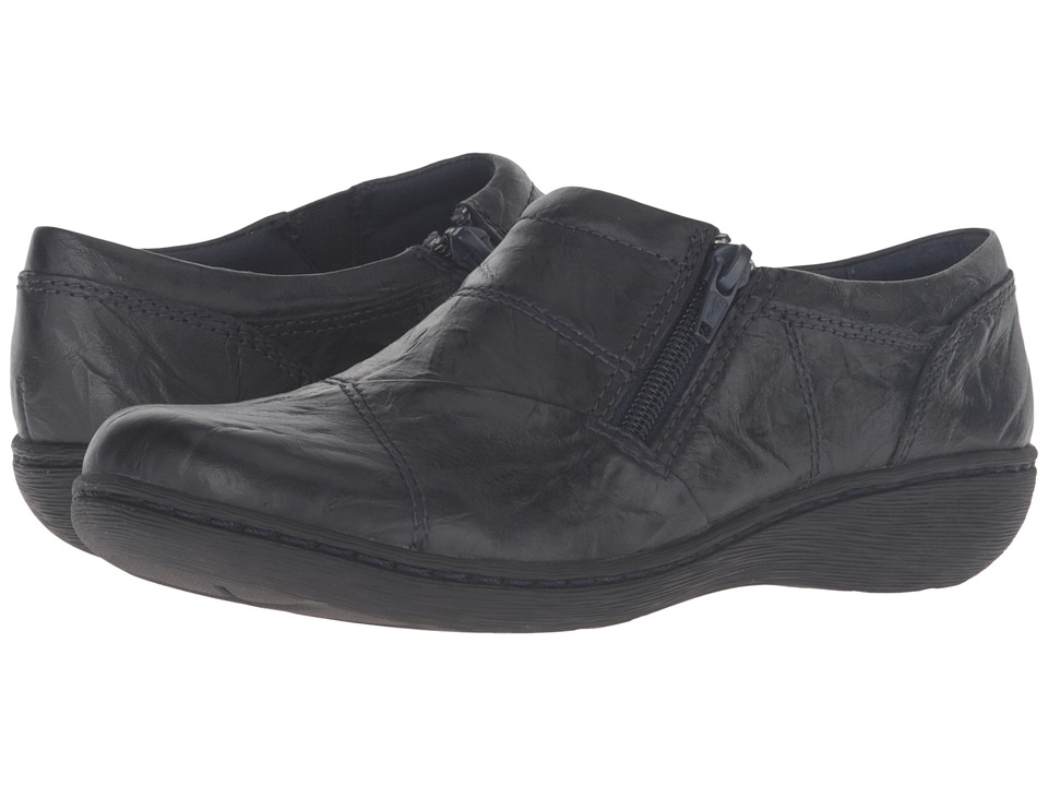 Clarks - Fianna Ellie (Navy Leather) Women's Shoes