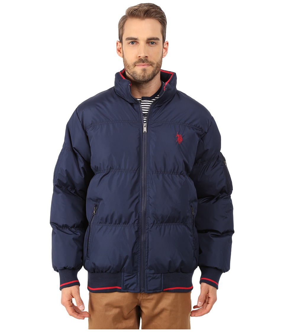 U.S. POLO ASSN. - Puffer Jacket with Striped Rib Knit Collar (Navy) Men's Coat