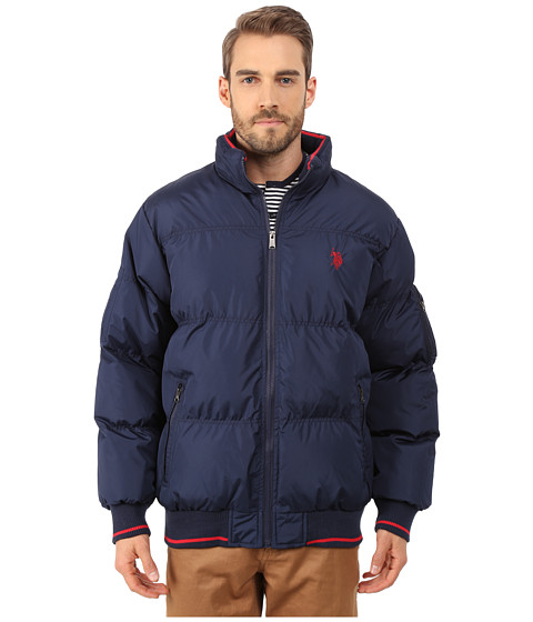 U.S. POLO ASSN. - Puffer Jacket with Striped Rib Knit Collar (Navy) Men
