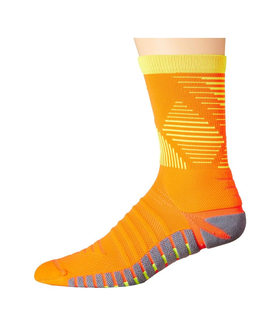 Nike Strike Mercurial Soccer (Total Crimson/Volt/Volt) Crew Cut Socks Shoes