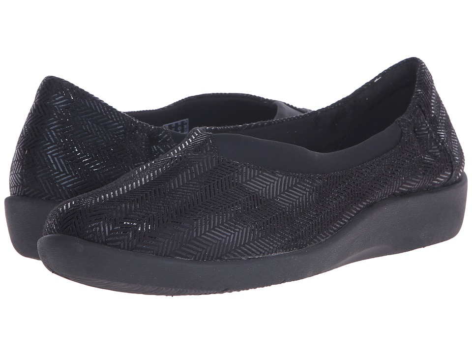 Clarks - Sillian Jetay (Black Mini Diamond) Women's Slip on Shoes