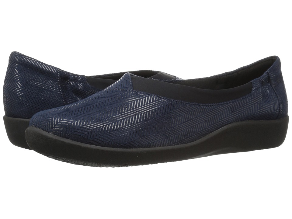 Clarks - Sillian Jetay (Navy Herringbone) Women's Slip on Shoes