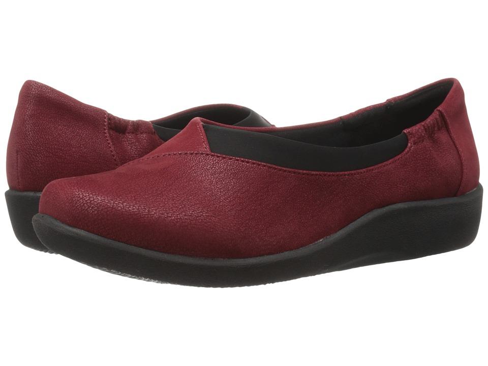 Clarks - Sillian Jetay (Cherry Synthetic Nubuck) Women's Slip on Shoes