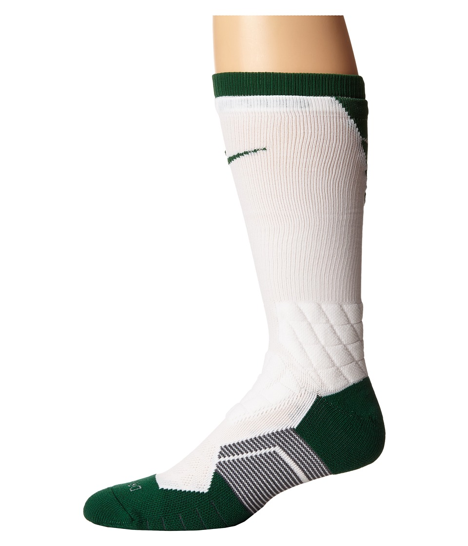 Nike - 2.0 Elite Vapor Football (White/Gorge Green/Gorge Green) Crew Cut Socks Shoes