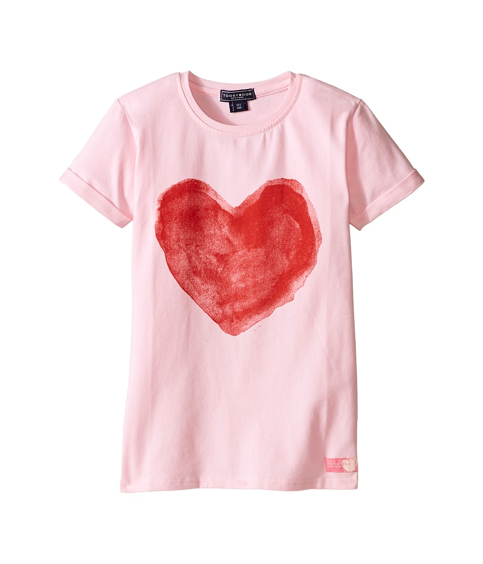 Toobydoo - Painted Love Short Sleeve T-Shirt (Toddler/Little Kids/Big Kids) (Pink/red heart graphic) Girl's T Shirt