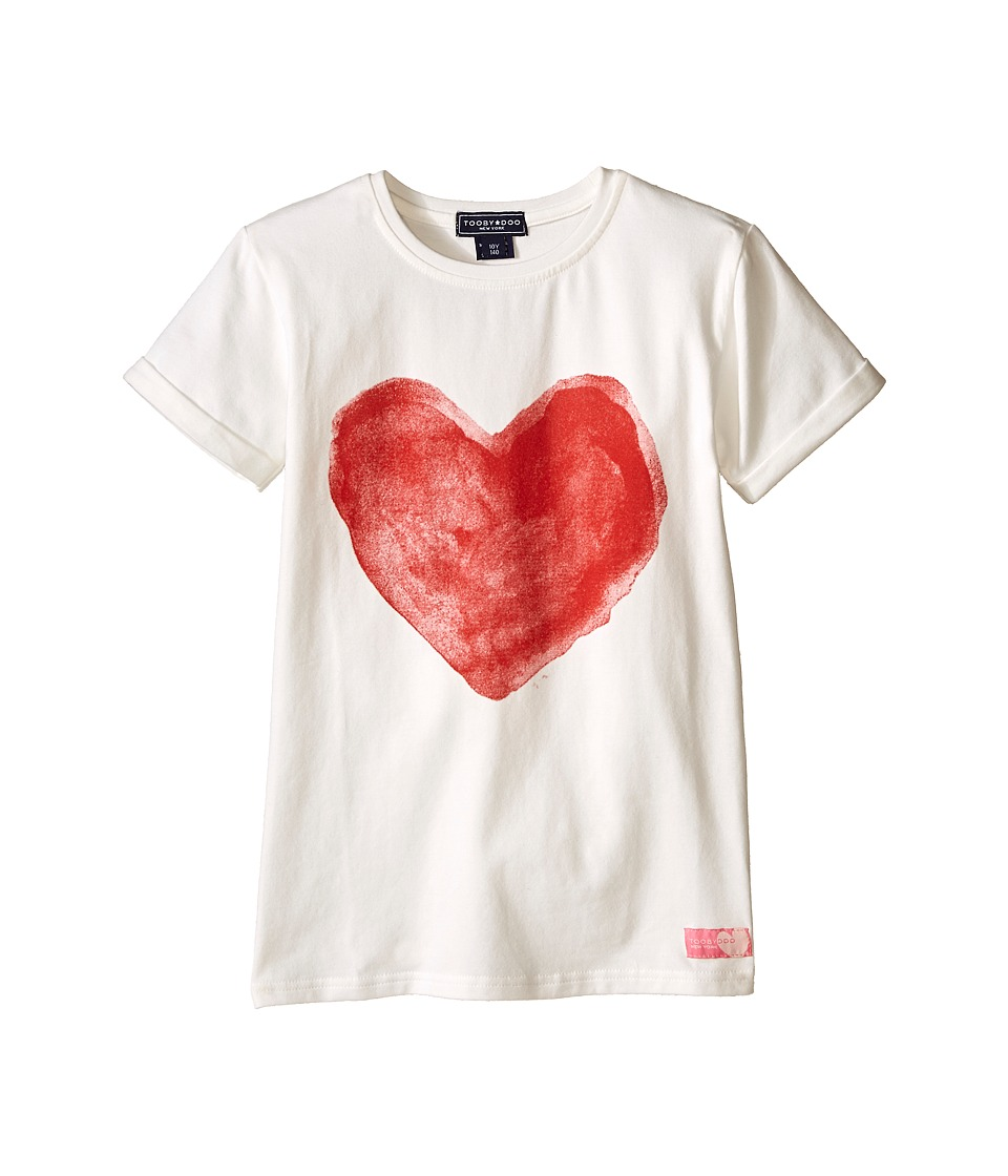 Toobydoo - Painted Love Short Sleeve T-Shirt (Toddler/Little Kids/Big Kids) (White/red heart graphic) Girl's T Shirt