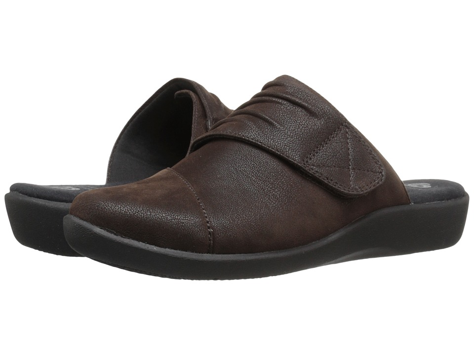 Clarks - Sillian Rhodes (Dark Brown Synthetic Nubuck) Women's Clog Shoes