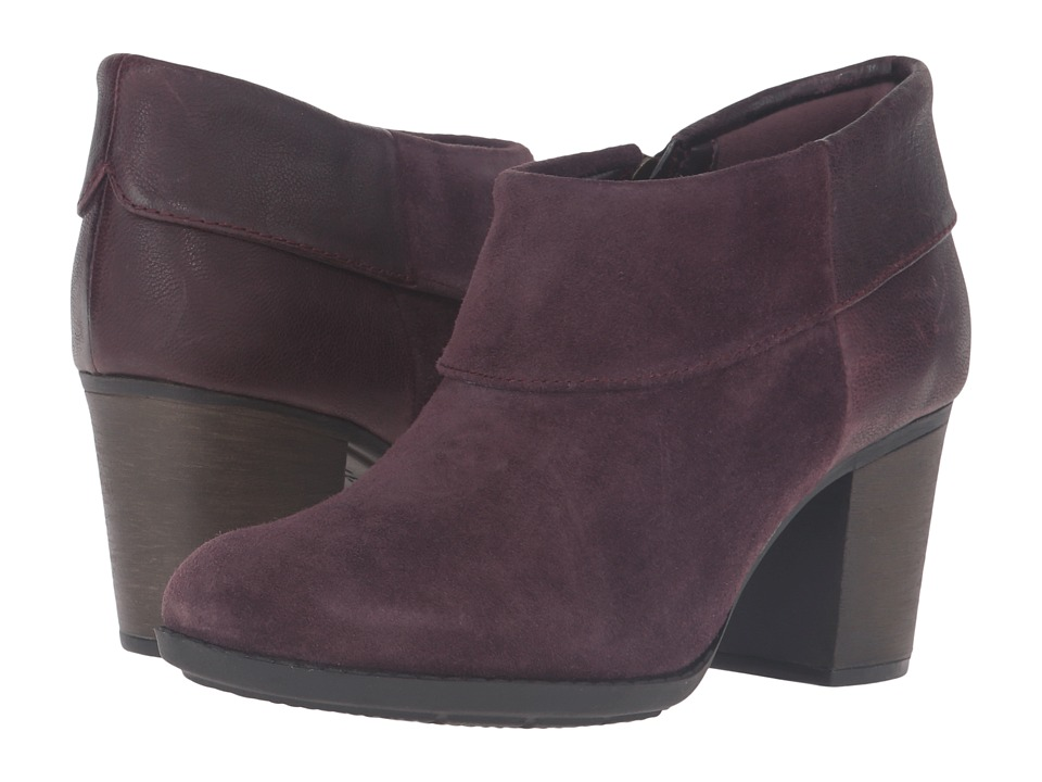 Clarks Enfield Canal (Aubergine Suede/Leather) Women