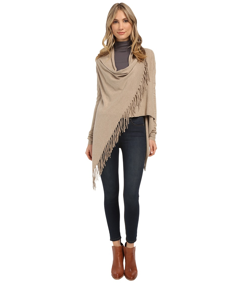 Christin Michaels - Evelyn Fringed Wrap Cardigan (Taupe) Women's Sweater