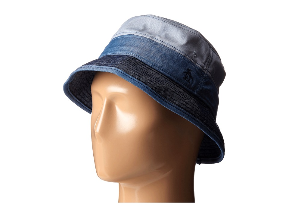 Original Penguin - Color Blocked Chambray Bucket Hat (Indigo Denim) Baseball Caps