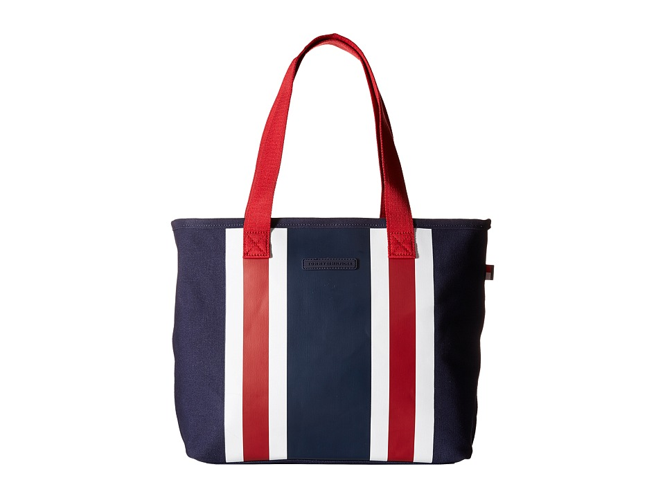 Tommy Hilfiger - TH Stripes - Painted Canvas Shopper (Navy/White/Red) Bags