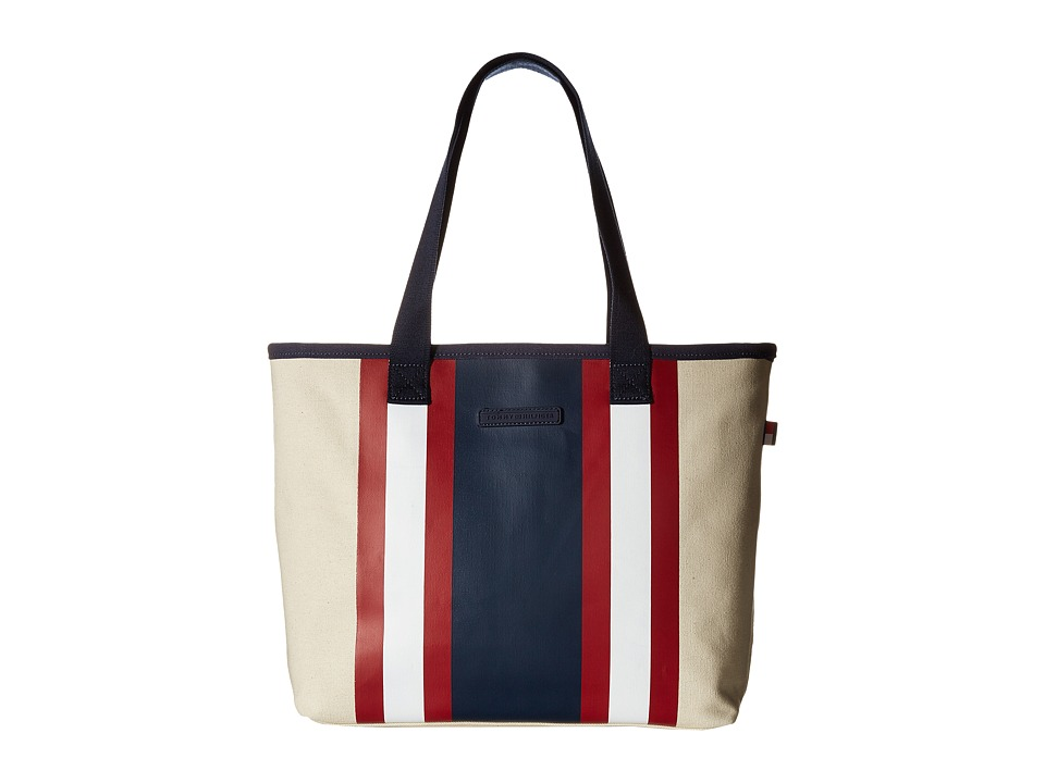 Tommy Hilfiger - TH Stripes - Painted Canvas Shopper (Natural/Navy/Red) Bags