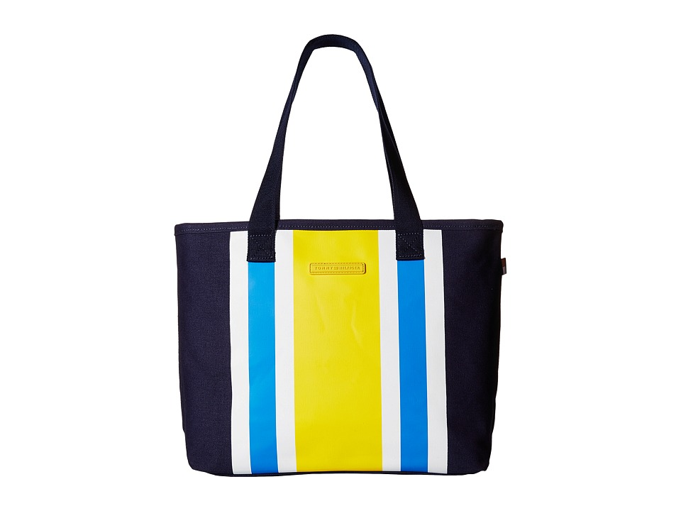 Tommy Hilfiger - TH Stripes - Painted Canvas Shopper (Navy/Yellow) Bags