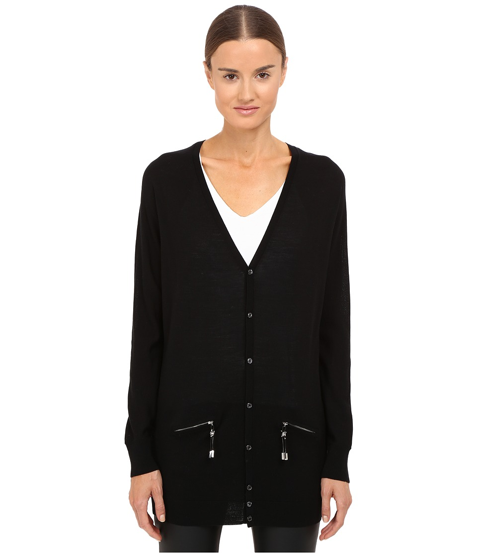 DSQUARED2 - Long Sleeve Zip Pocket Cardigan (Black) Women's Sweater
