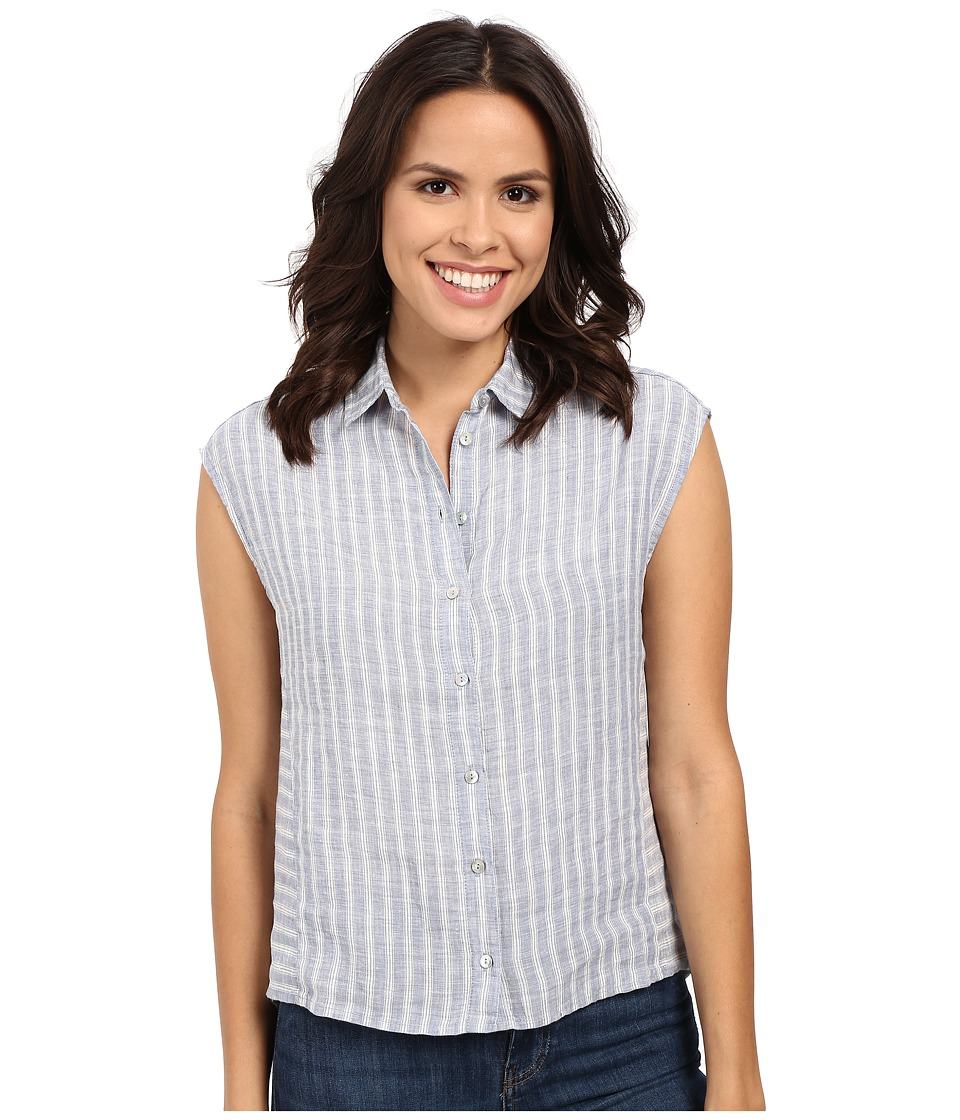 Mavi Jeans - Linen Stripe Button Up Top (Blue Stripe) Women's Clothing