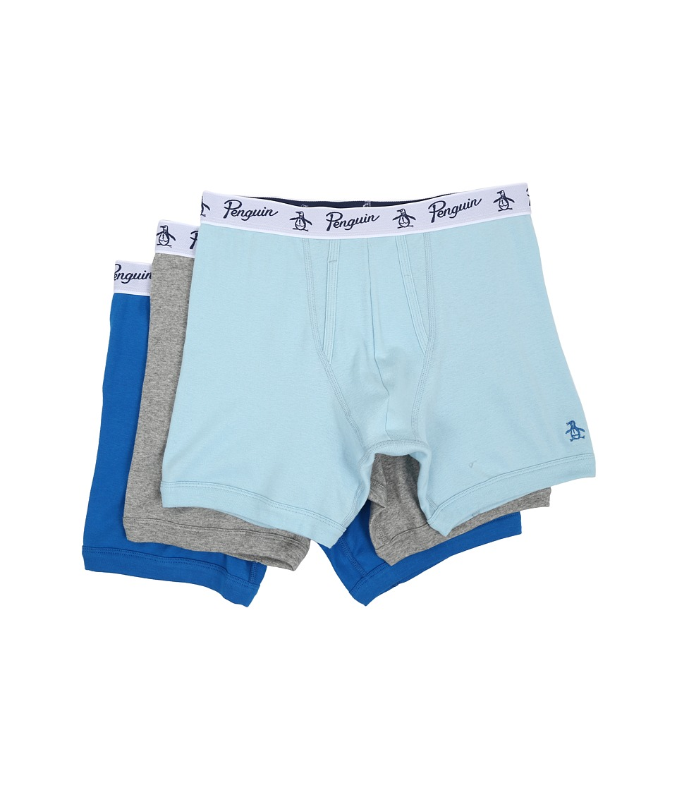 Original Penguin - 100% Cotton 3 Pack Boxer Brief (Light Blue/Heather Grey/Medium Blue) Men's Underwear