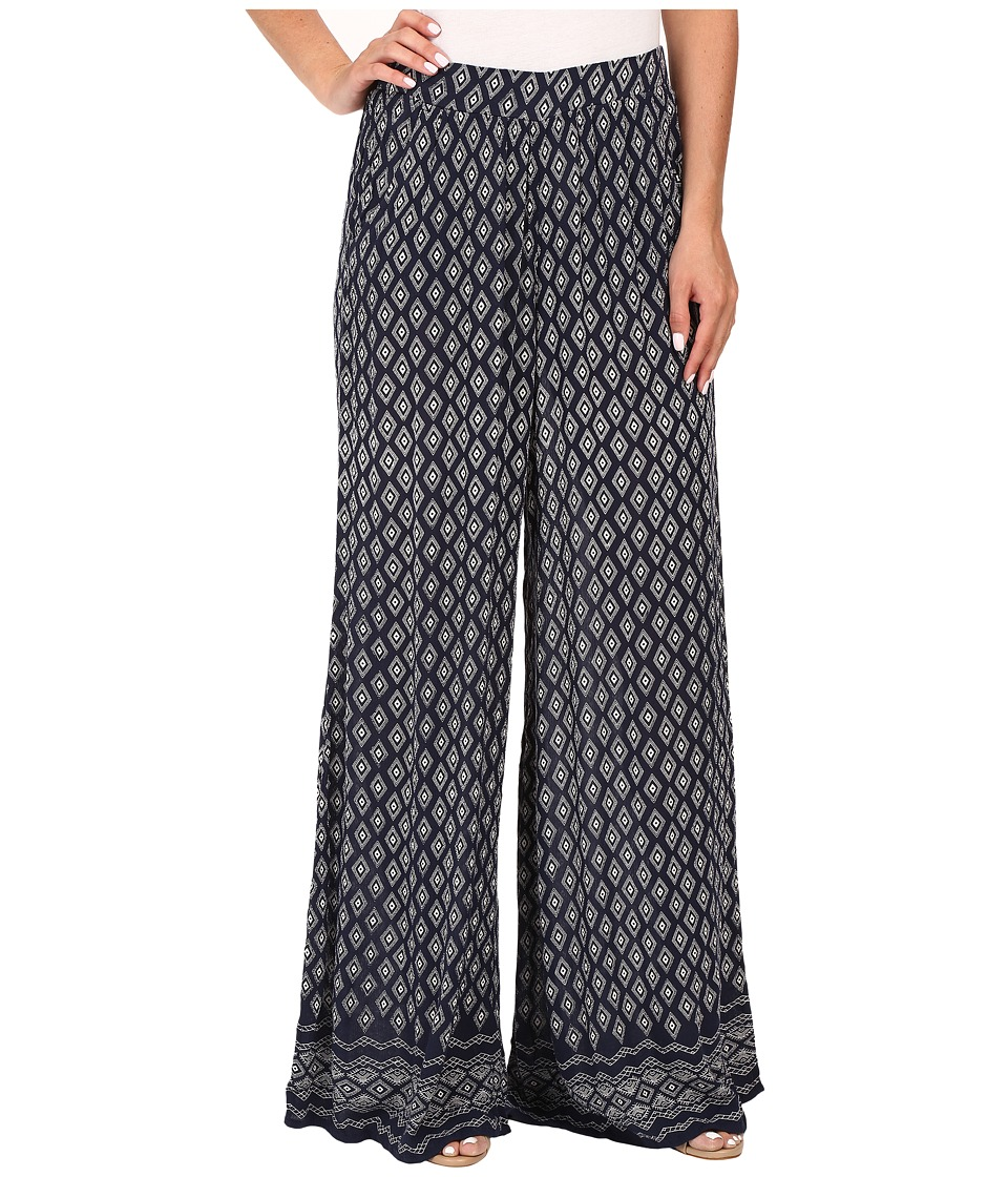 Mavi Jeans - Wide Leg Pants (Dress Blue Printed) Women's Casual Pants plus size,  plus size fashion plus size appare