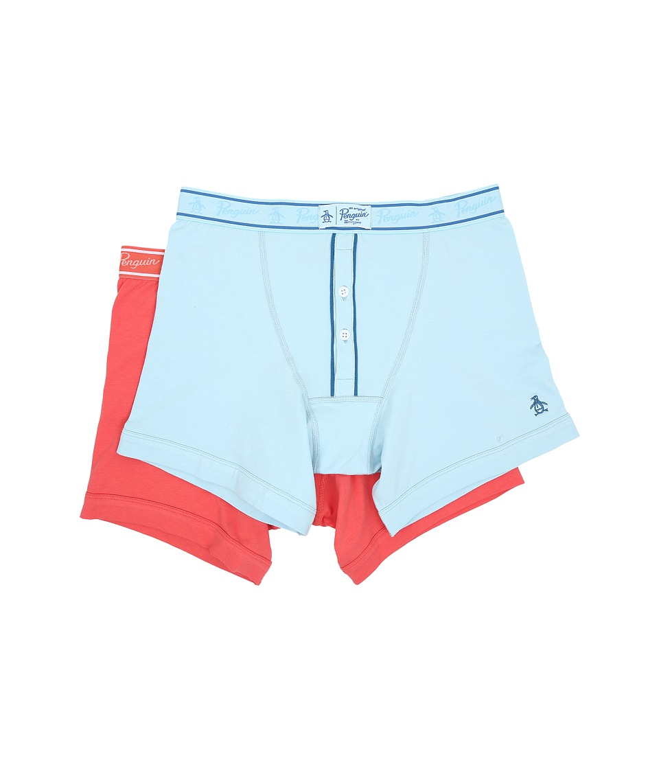 Original Penguin - 2-Pack Earl Boxer Brief (Light Blue/Coral) Men's Underwear