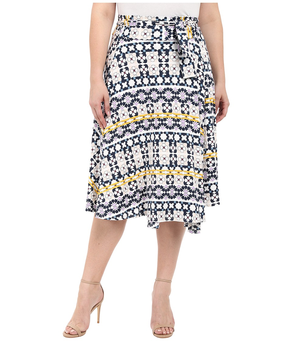 Rachel Pally Plus - Plus Size Mid-Length Wrap Skirt (Morrocco Print) Women's Skirt plus size,  plus size fashion plus size appare