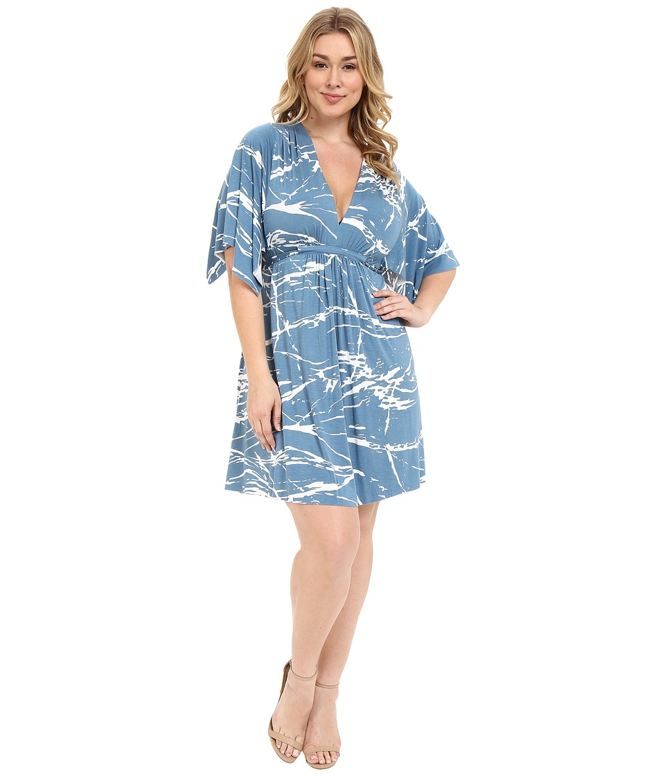 Rachel Pally Plus - Plus Size Mini Caftan Dress (Moonflower Reverie) Women's Dress plus size,  plus size fashion plus size appare