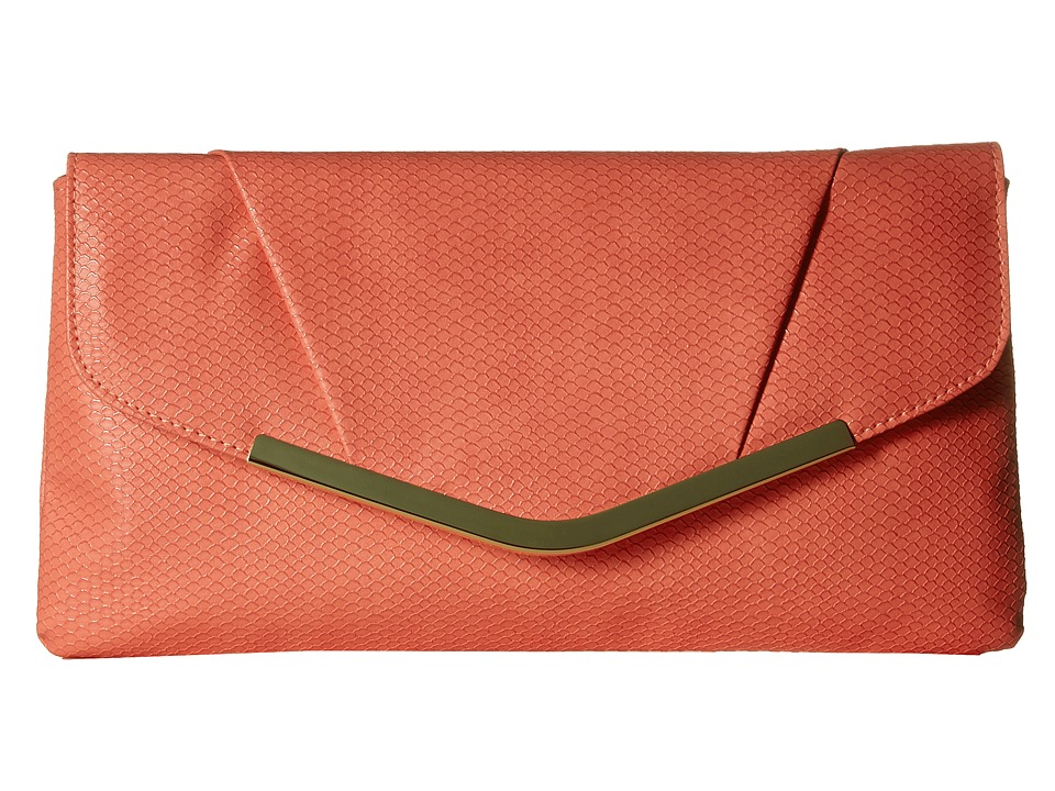 Jessica McClintock - Arielle Snake Envelope Clutch (Coral) Clutch Handbags