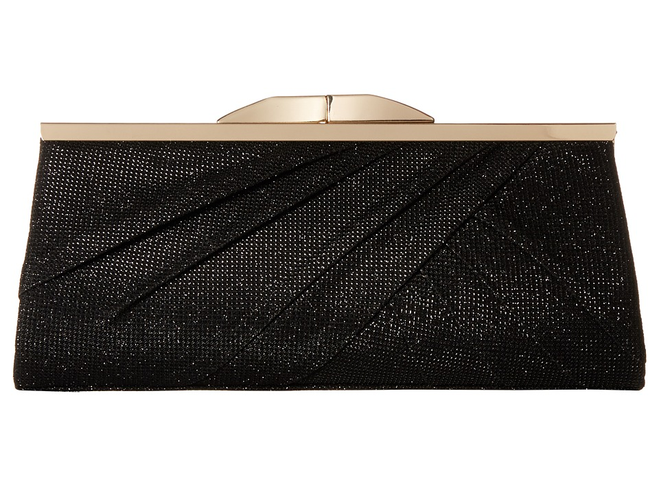 Jessica McClintock - Sloan Metallic Lurex Clutch (Black) Clutch Handbags