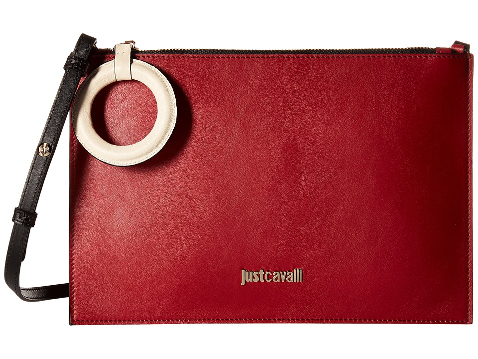 Just Cavalli - Color Block Calf Leather Crossbody (Ruby Red) Cross Body Handbags