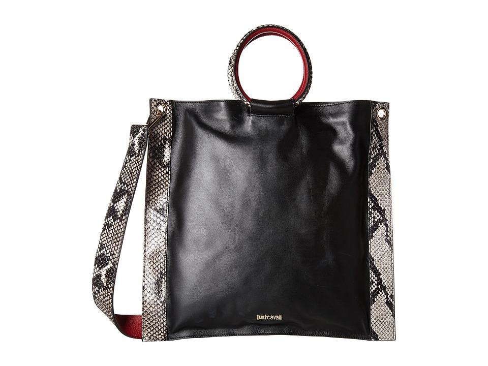 Just Cavalli - Nappa and Python Printed Leather (Black) Handbags