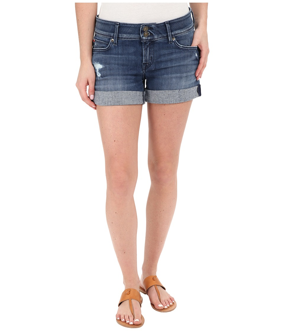 Hudson - Croxley Mid Thigh Rolled Shorts with Distress in Sugarcane (Sugarcane) Women's Shorts