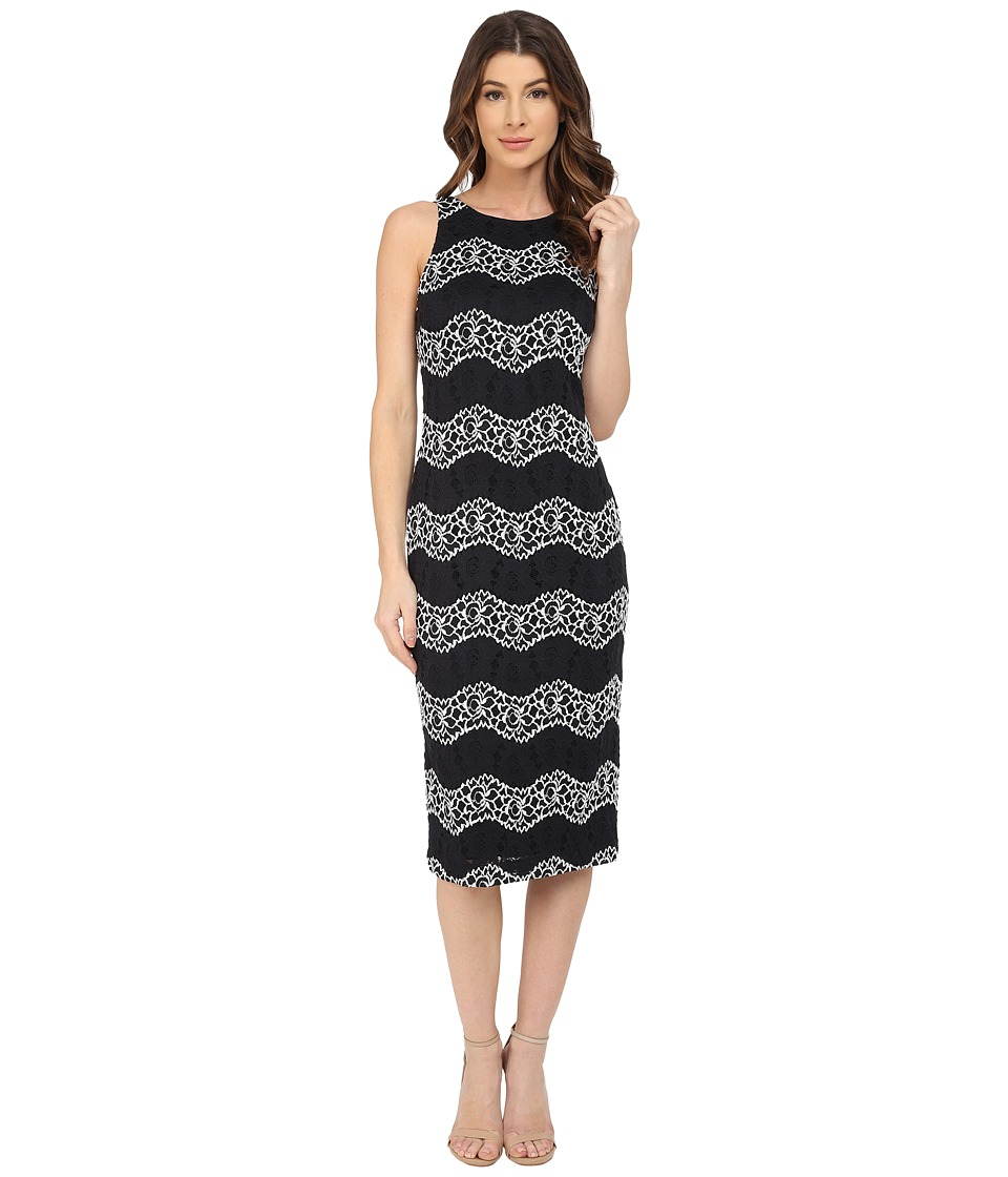 Maggy London - Wave Lace Sheath Dress (Black/White) Women's Dress