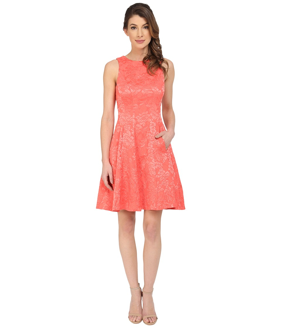 Maggy London - Plisse Rose Fit and Flare Dress (Coral Reef) Women's Dress
