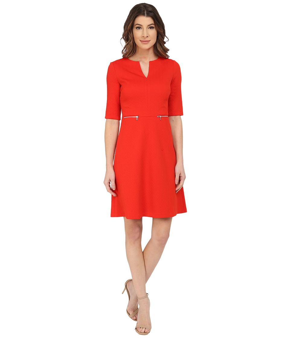 Maggy London - Chainlink Jacquard Fit and Flare with Zippers Dress (Fire Red) Women's Dress