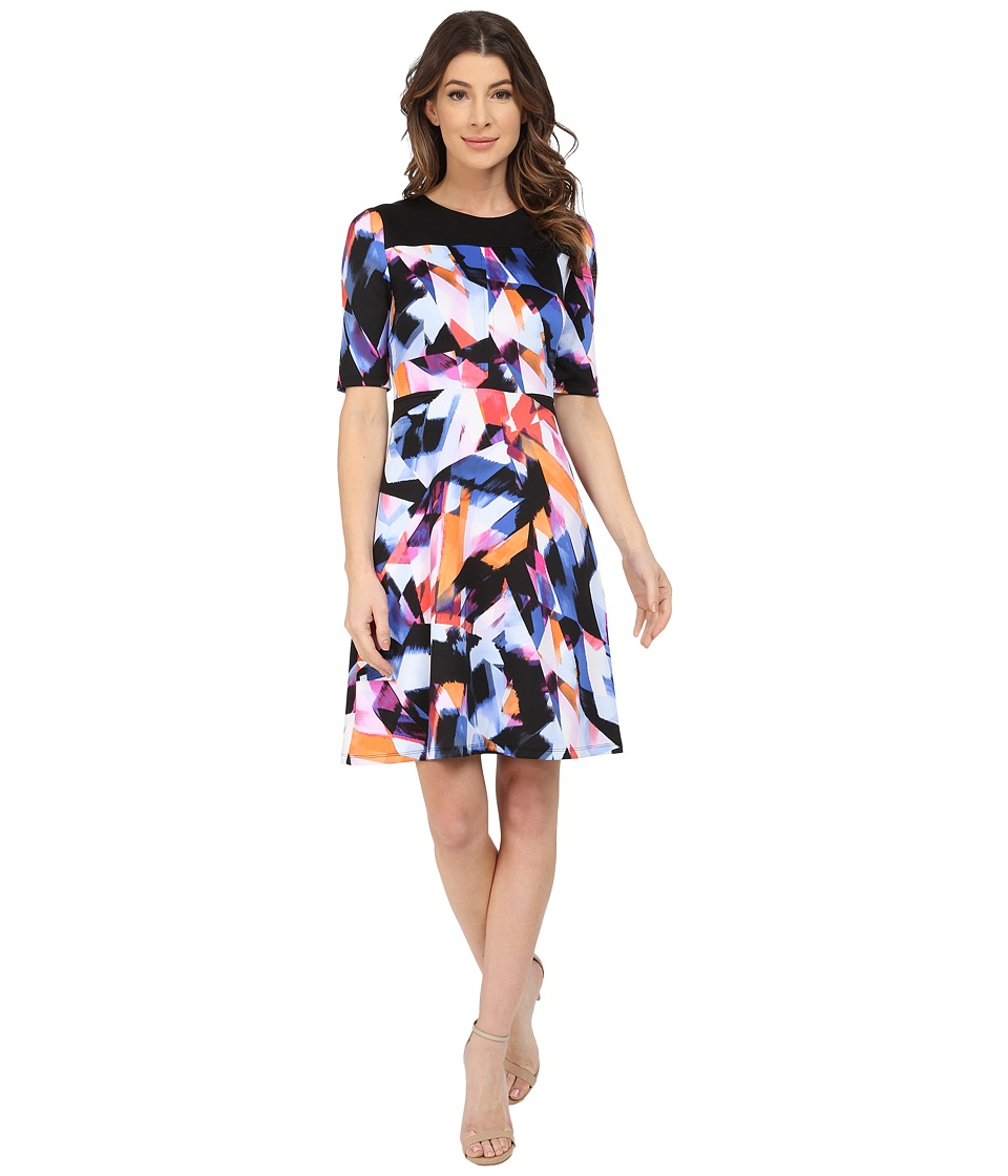 Maggy London - Rainbow Fragment Printed Scuba Fit and Flare Dress (Soft White/Cobalt) Women's Dress