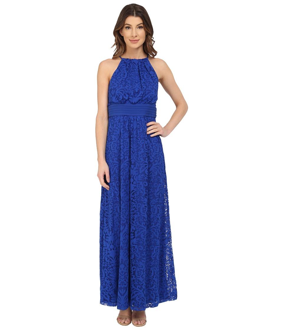 Maggy London Pintuck Drop Waist Maxi Dress (Cascade Blue) Women