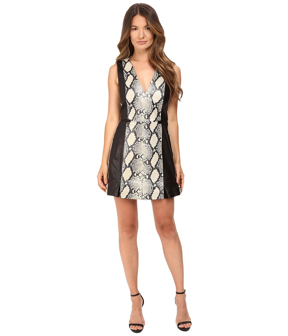 Just Cavalli Leather Panel Dress w/ Printed Python (Black) Women