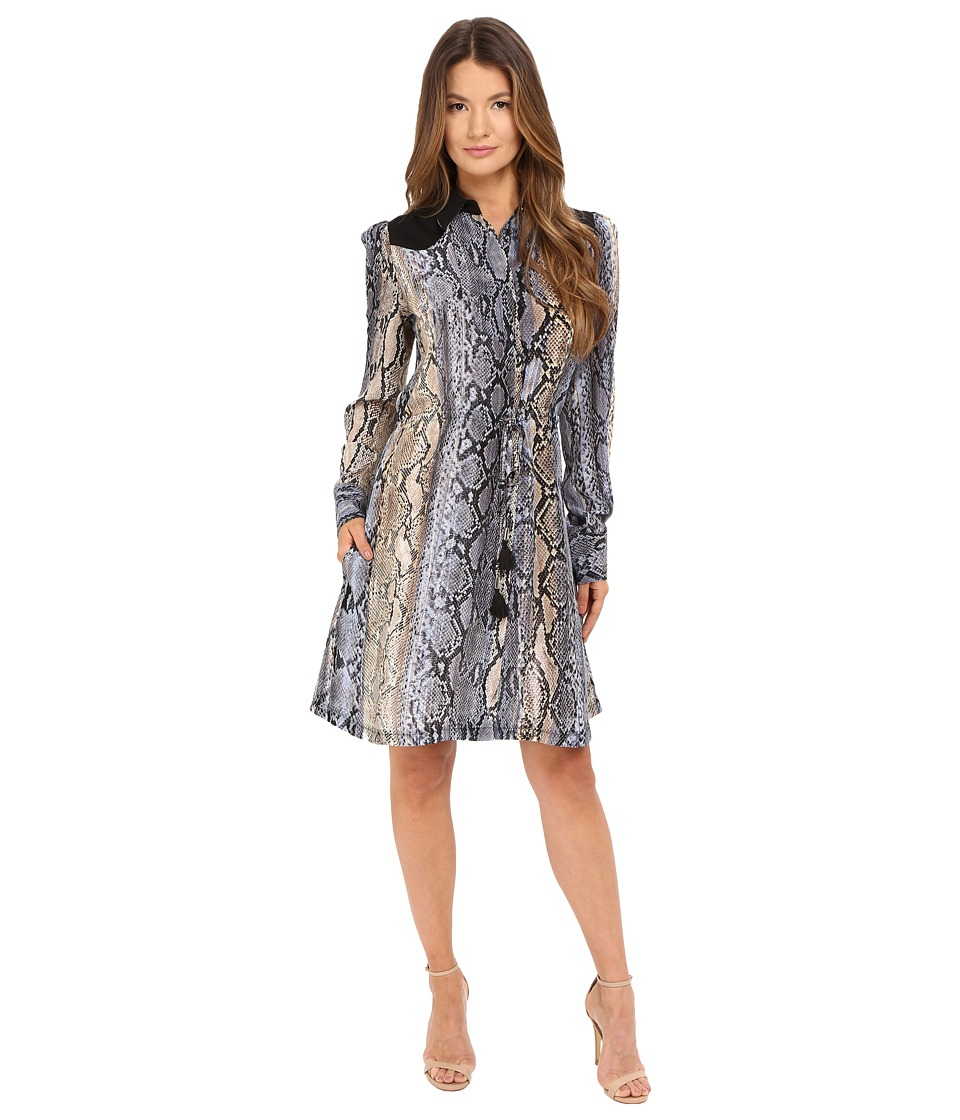 Just Cavalli - Python Cortex Print Long Sleeve Skirt Dress (Lavender) Women's Dress
