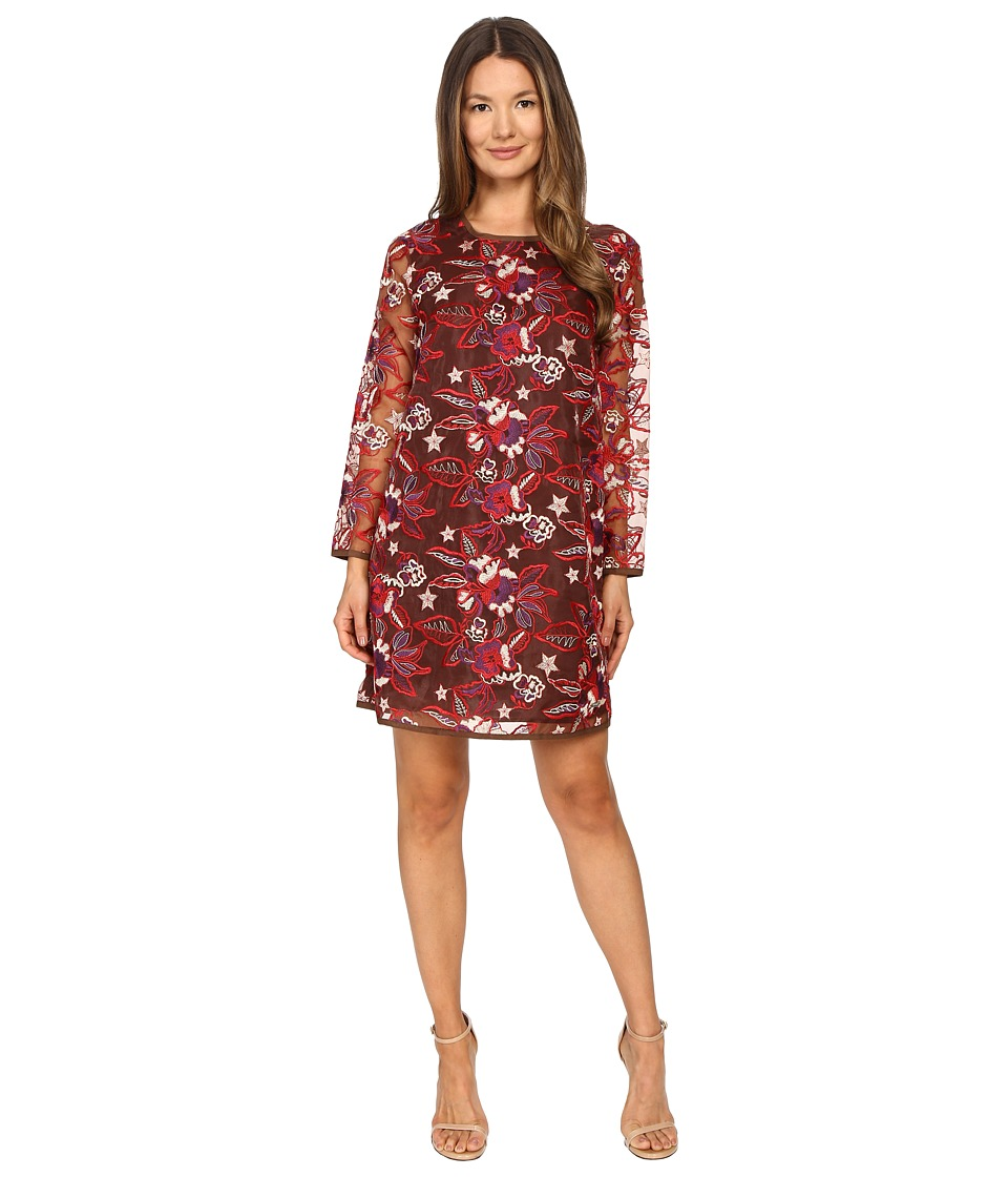 Just Cavalli - Pansy Embroidered Sheath Dress (Chestnut) Women's Dress