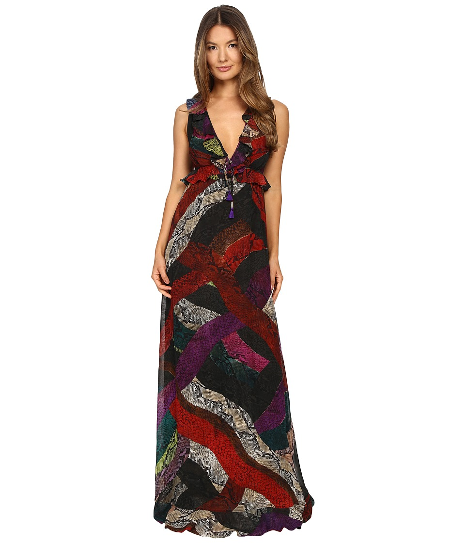 Just Cavalli Long Cross Naif Print Ruffle Gown (Petroleum) Women