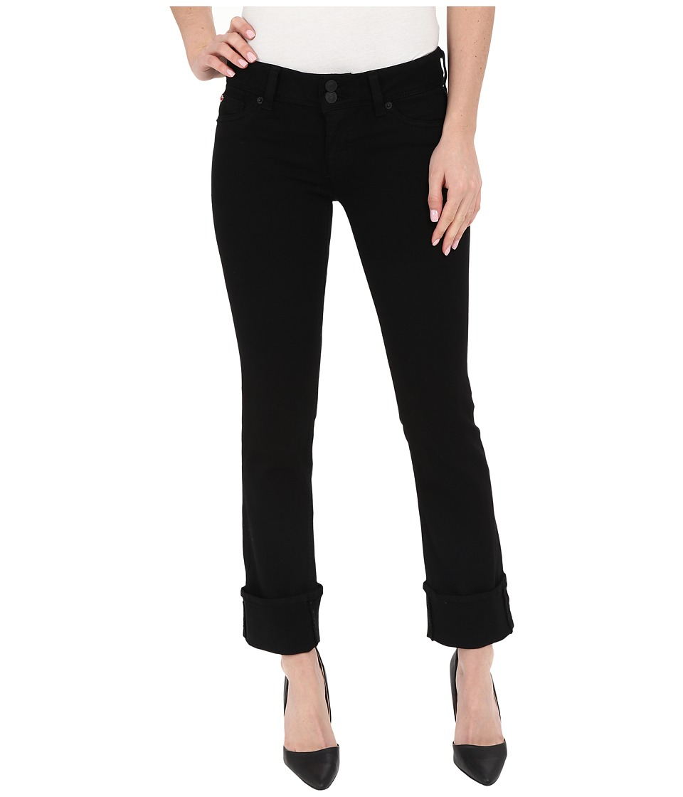Hudson - Ginny Crop Stratight with Cuff in Black (Black) Women's Jeans