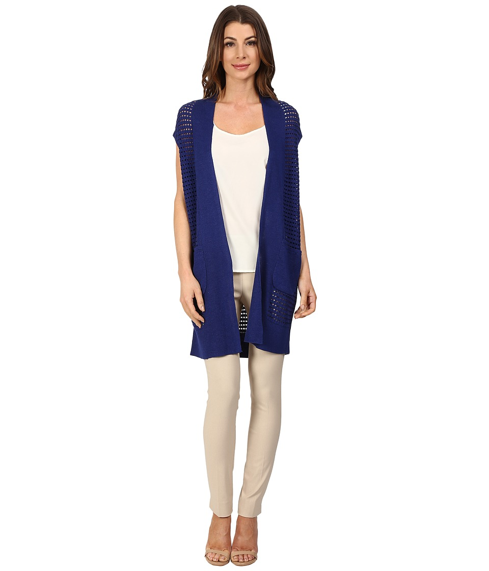 NIC+ZOE - Open Stitched Vest (Blue Roma) Women's Sweater