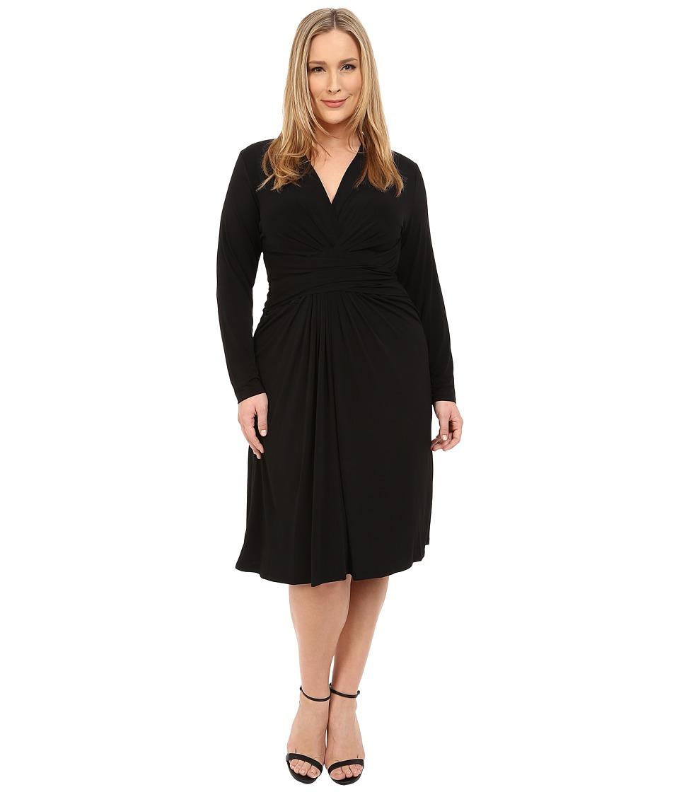 MICHAEL Michael Kors - Plus Size Long Sleeve Faux Wrap Dress (Black) Women