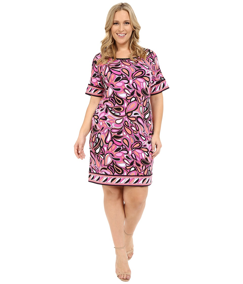 MICHAEL Michael Kors - Plus Size Calabasas Border Dress (Plum Blossom) Women's Dress