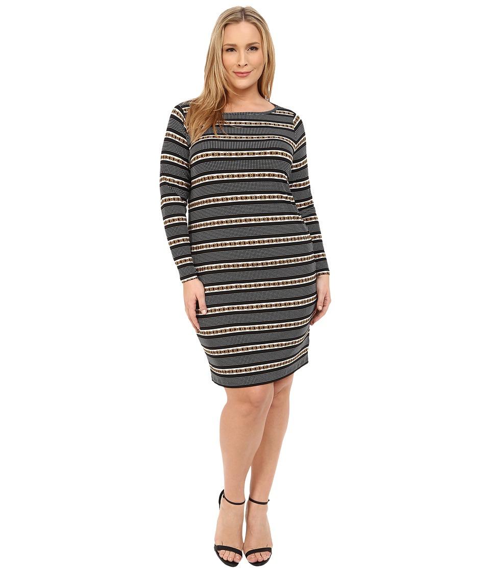 MICHAEL Michael Kors - Plus Size Carden Boat Neck Long Sleeve Dress (Black) Women's Dress