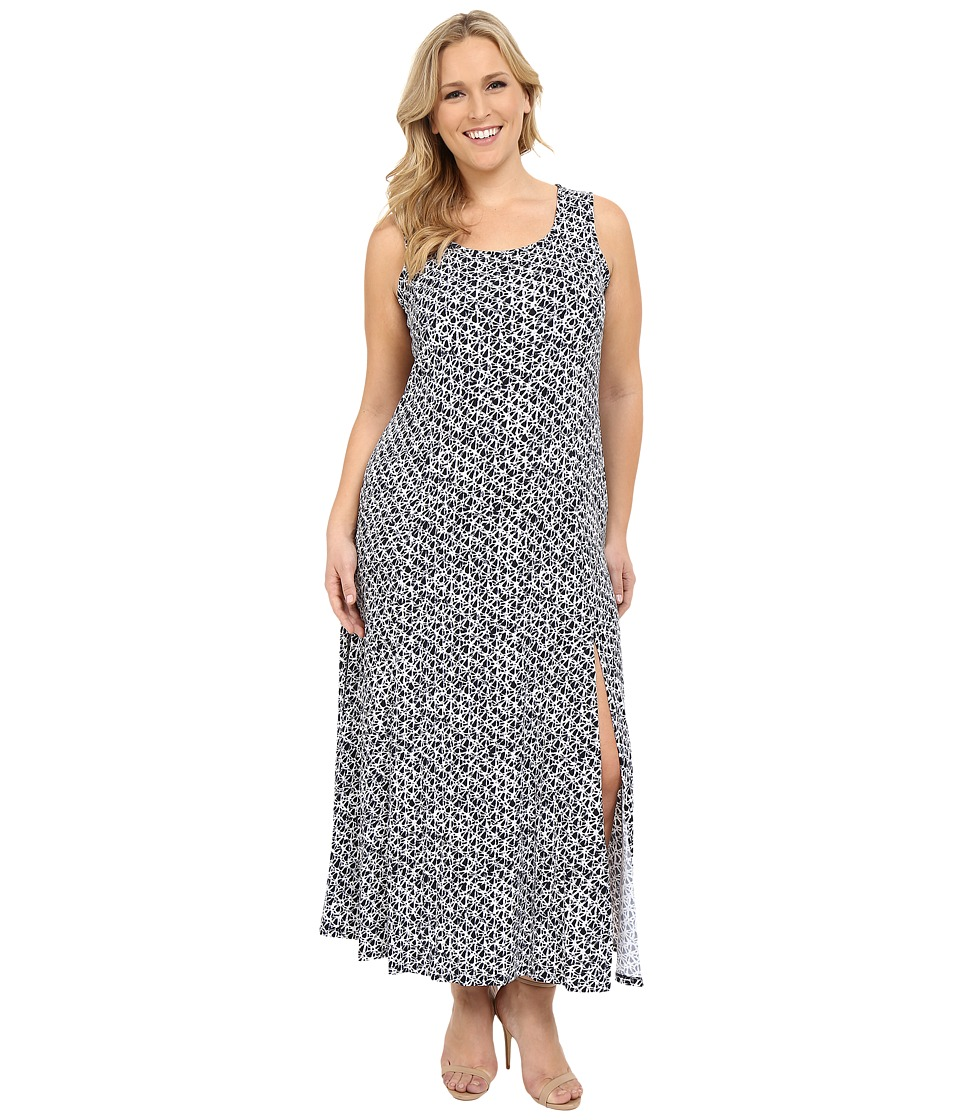 MICHAEL Michael Kors - Plus Size Wax Print Maxi Tank Dress (New Navy) Women's Dress