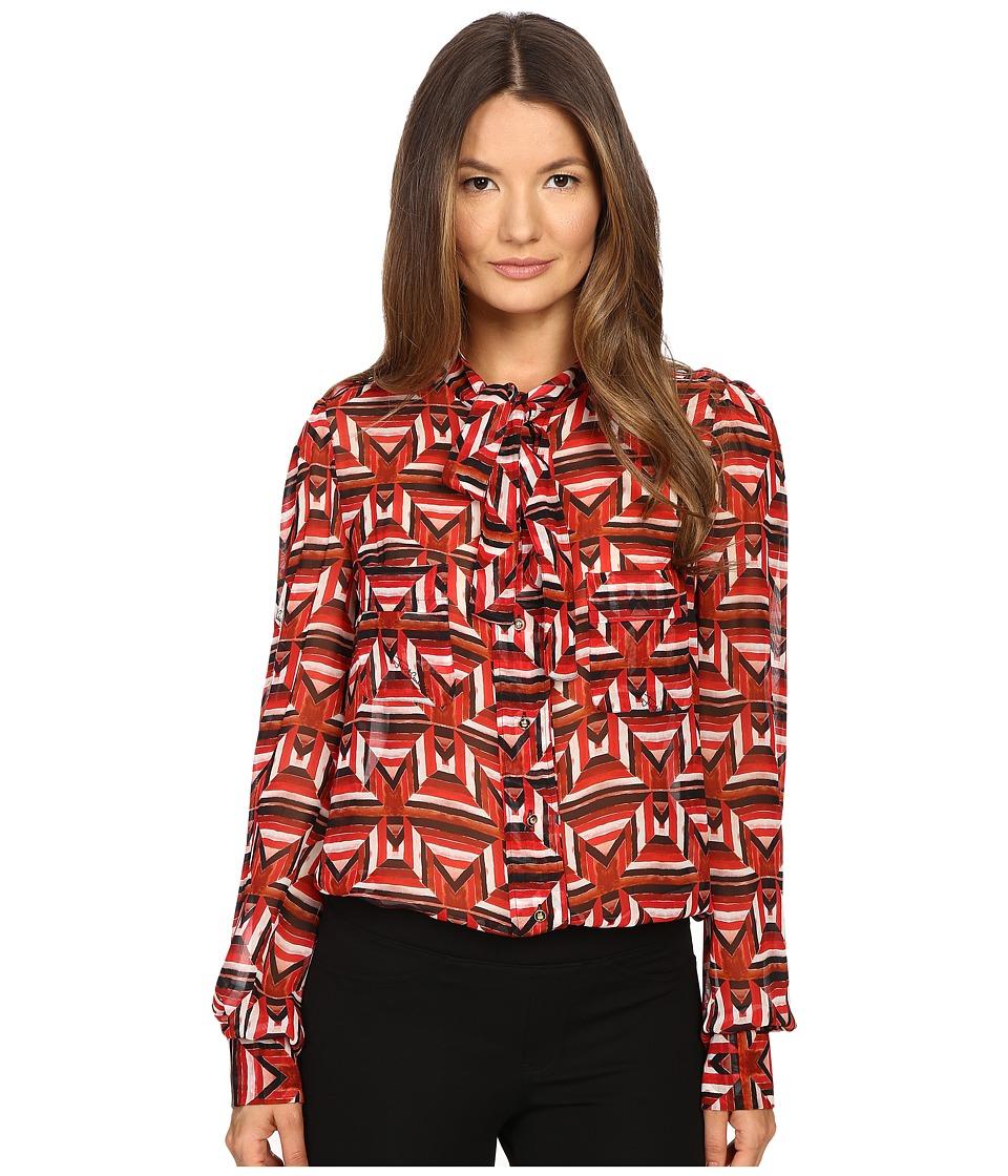 Just Cavalli - Sonya Print Bow Blouse w/ Chest Pockets (Geranium) Women's Blouse