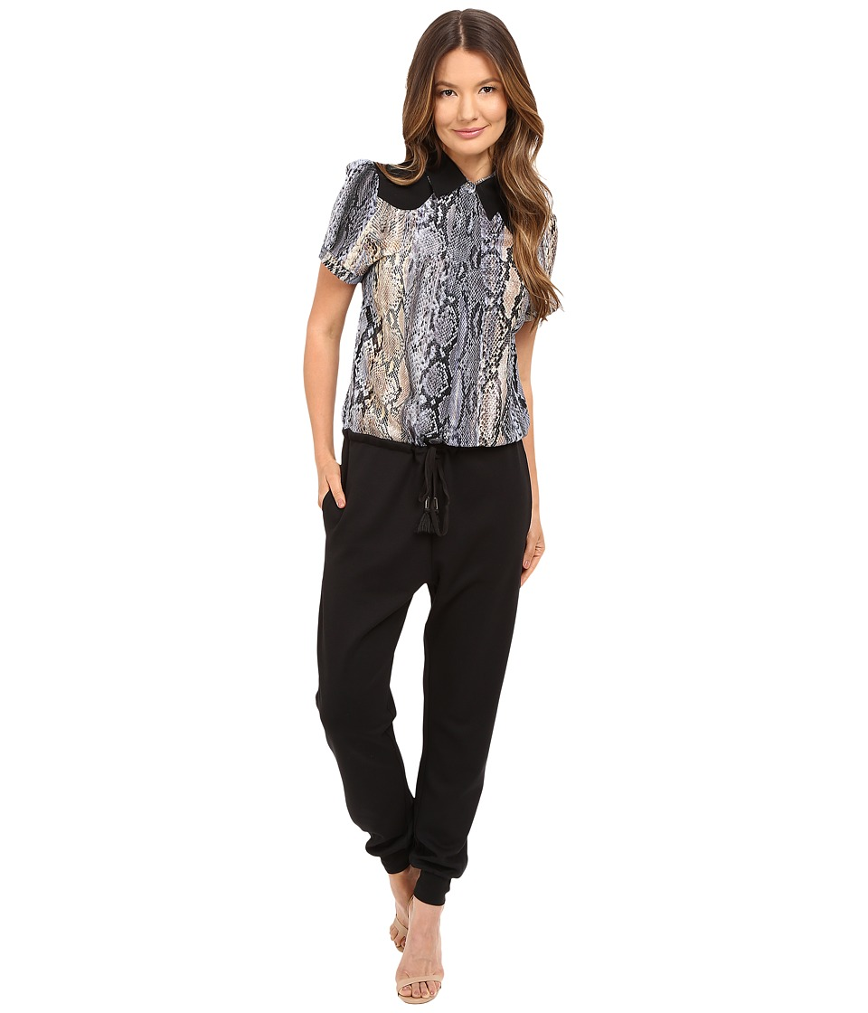 Just Cavalli - Blocked Jumpsuit with Printed Top (Black) Women's Jumpsuit & Rompers One Piece