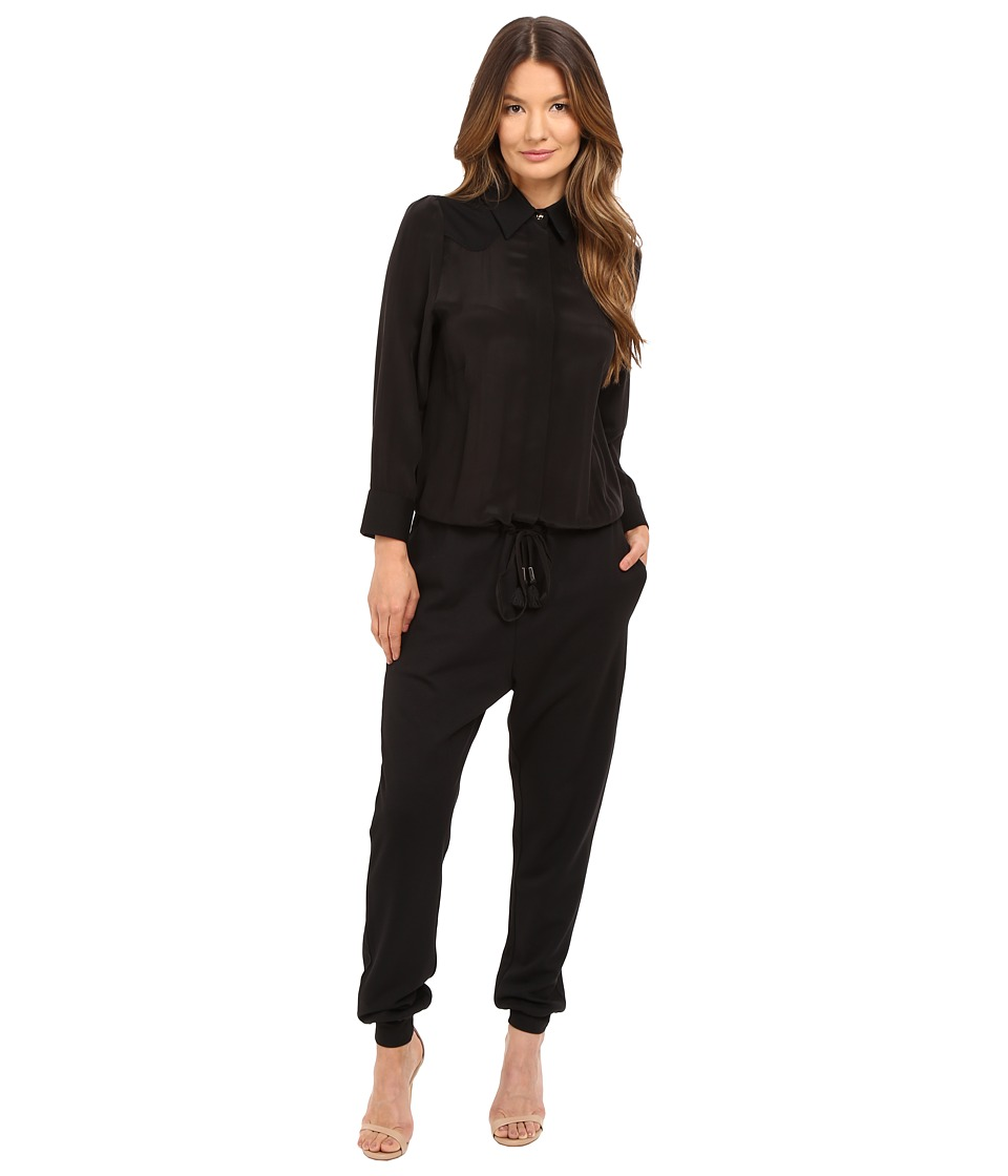 Just Cavalli - Solid Jumpsuit Washed Silk/Jersey (Black) Women's Jumpsuit & Rompers One Piece