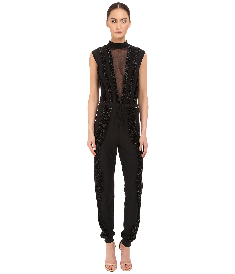 Just Cavalli - Knit Jumpsuit with Sheer Panel and Lurex Trim (Black) Women's Jumpsuit & Rompers One Piece